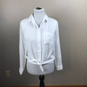 Madewell White Long Sleeve Tie-Front Shirt Blouse